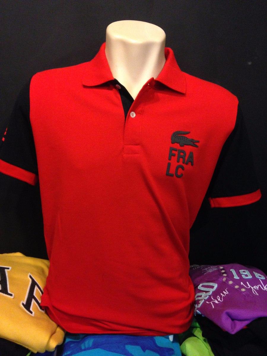 camiseta polo lacoste fra lc vermelho com preto tam g  1817. Carregando  zoom. b205dd8578