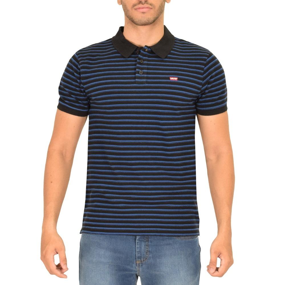 camiseta polo masculina listrada - preto e azul - levis. Carregando zoom. 2dc1c1e6f40f7