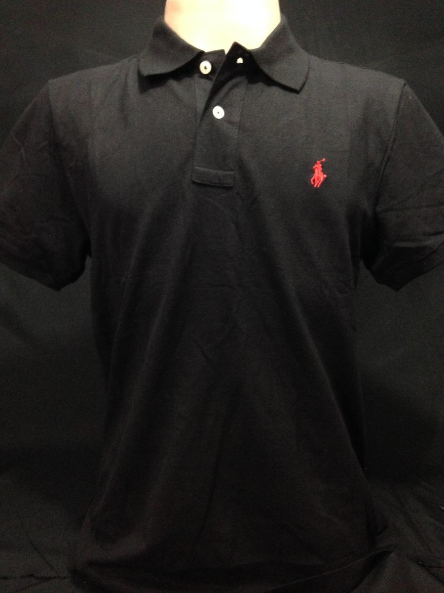 camiseta polo ralph lauren preta com cavalo vermelho tam g. Carregando zoom. 45c31938b68