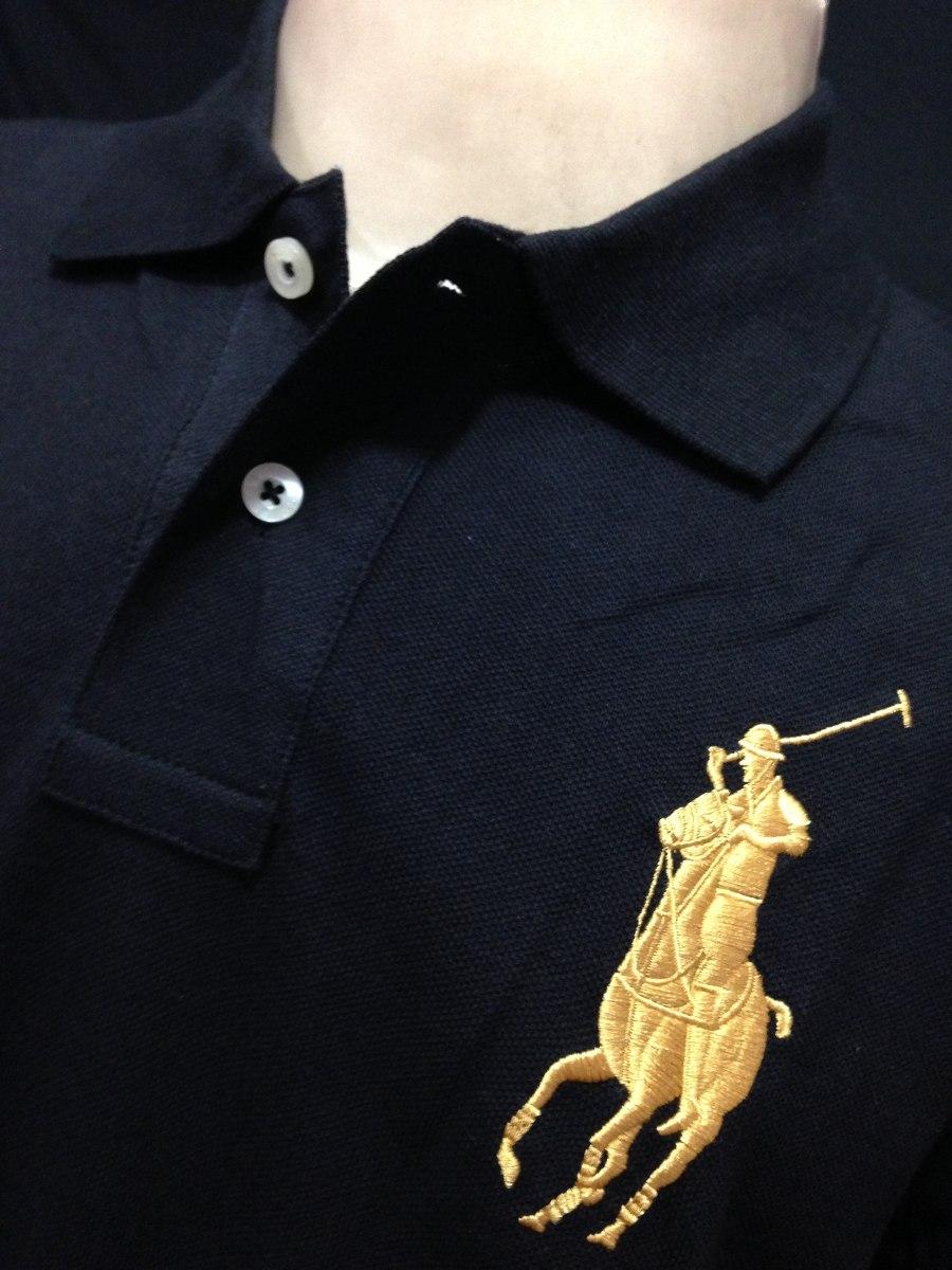 camiseta polo ralph lauren preto big poney dourado tam gg. Carregando zoom. 7c13a17bb0aec
