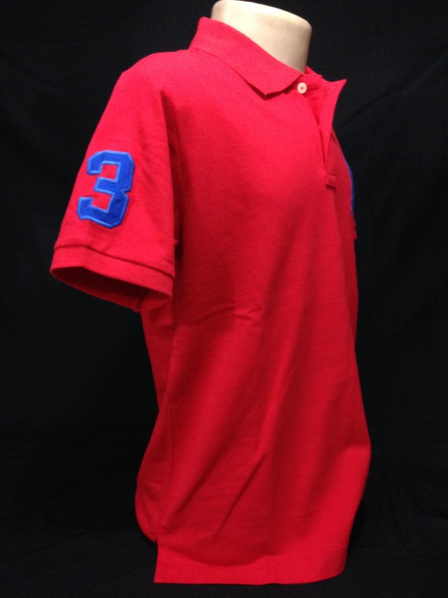 65920894f9 camiseta polo ralph lauren vermelha big poney azul tam p. Carregando zoom.