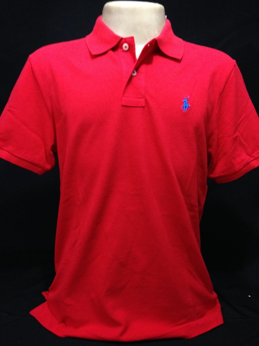 camiseta polo ralph lauren vermelha com cavalo azul tam g. Carregando zoom. 524d4ab7655
