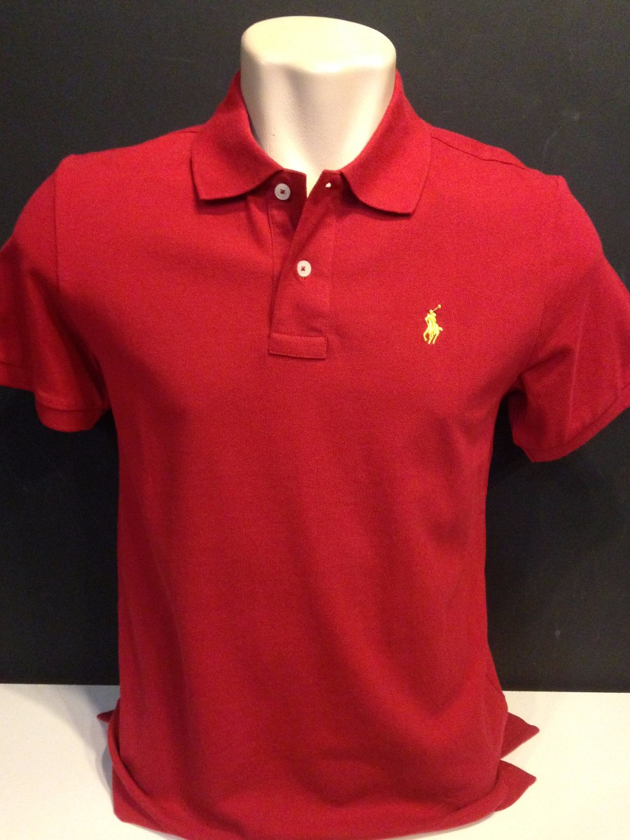camiseta polo ralph lauren vermelho cavalo amarelo tam p. Carregando zoom. 6b5949eee44