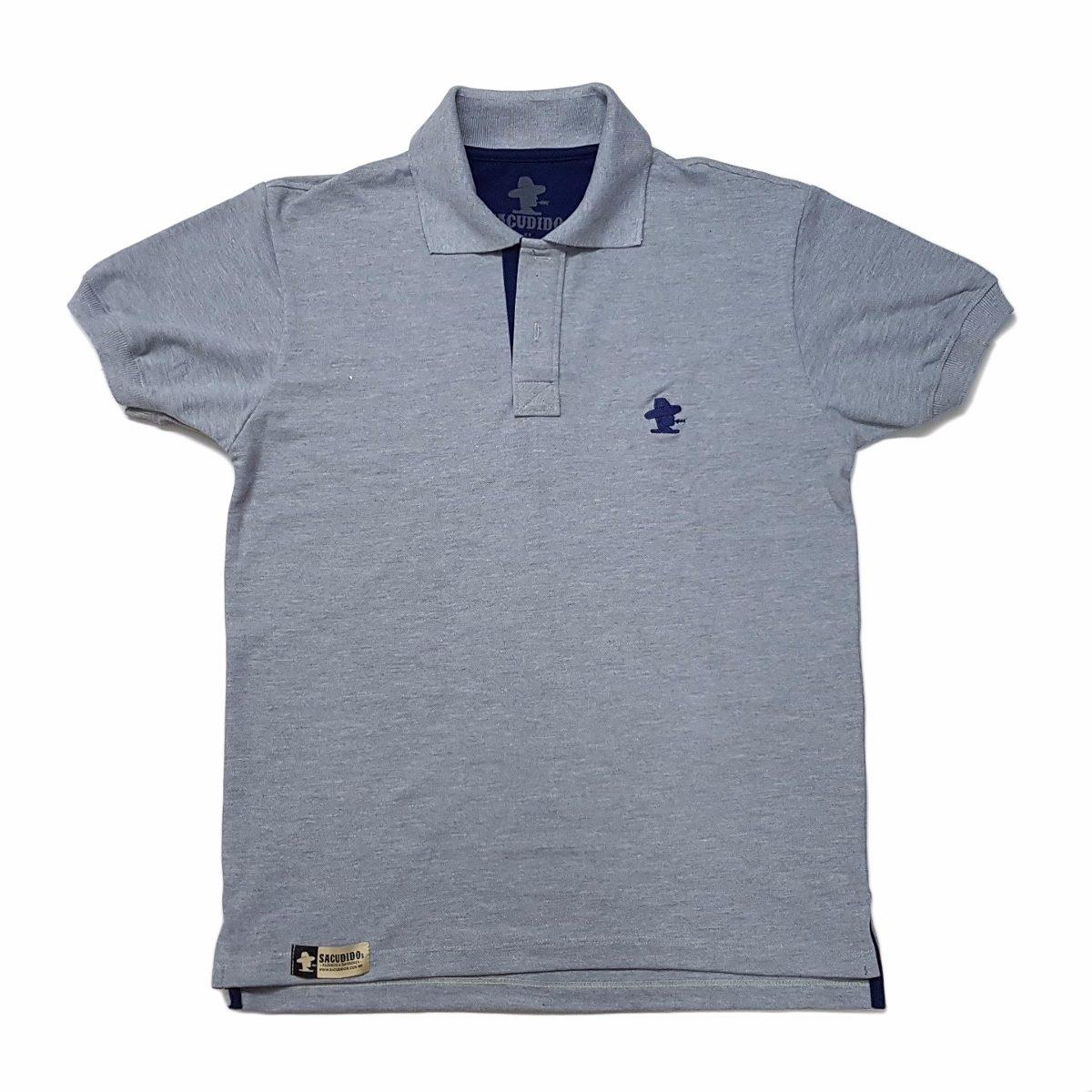 Camiseta Polo Sacudido s - Cinza E Azul - R  109 6e369d8c40b41