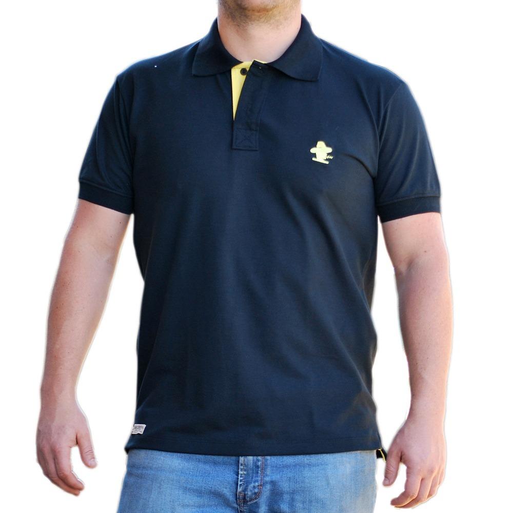 Camiseta Polo Sacudido s - Preta Com Amarelo - R  99 218369b020300