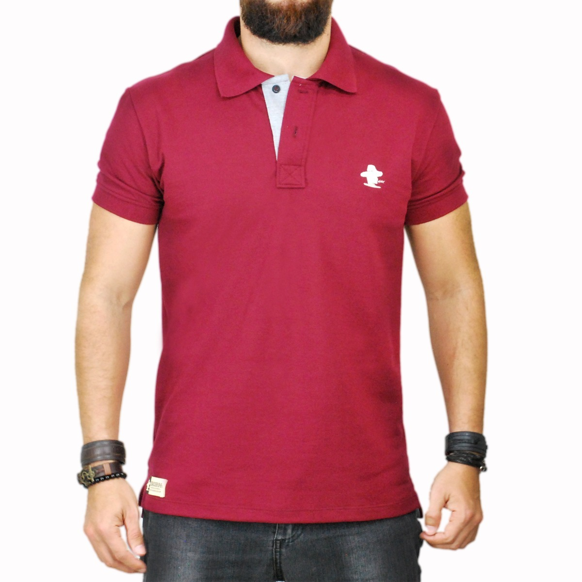 Camiseta Polo Sacudido s - Vinho E Cinza - R  109 be9561359297a