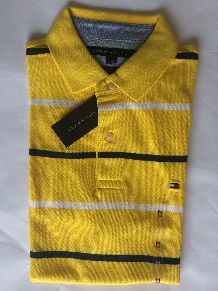 d40b6a03b6d6c camiseta polo tommy hilfiger amarela listra azul e branco. Carregando zoom.