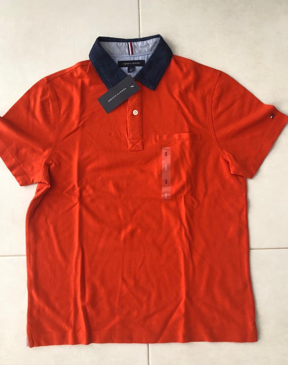 c3ef6cd6295b Camiseta Polo Tommy Hilfiger Masculina Laranja Tamanho P