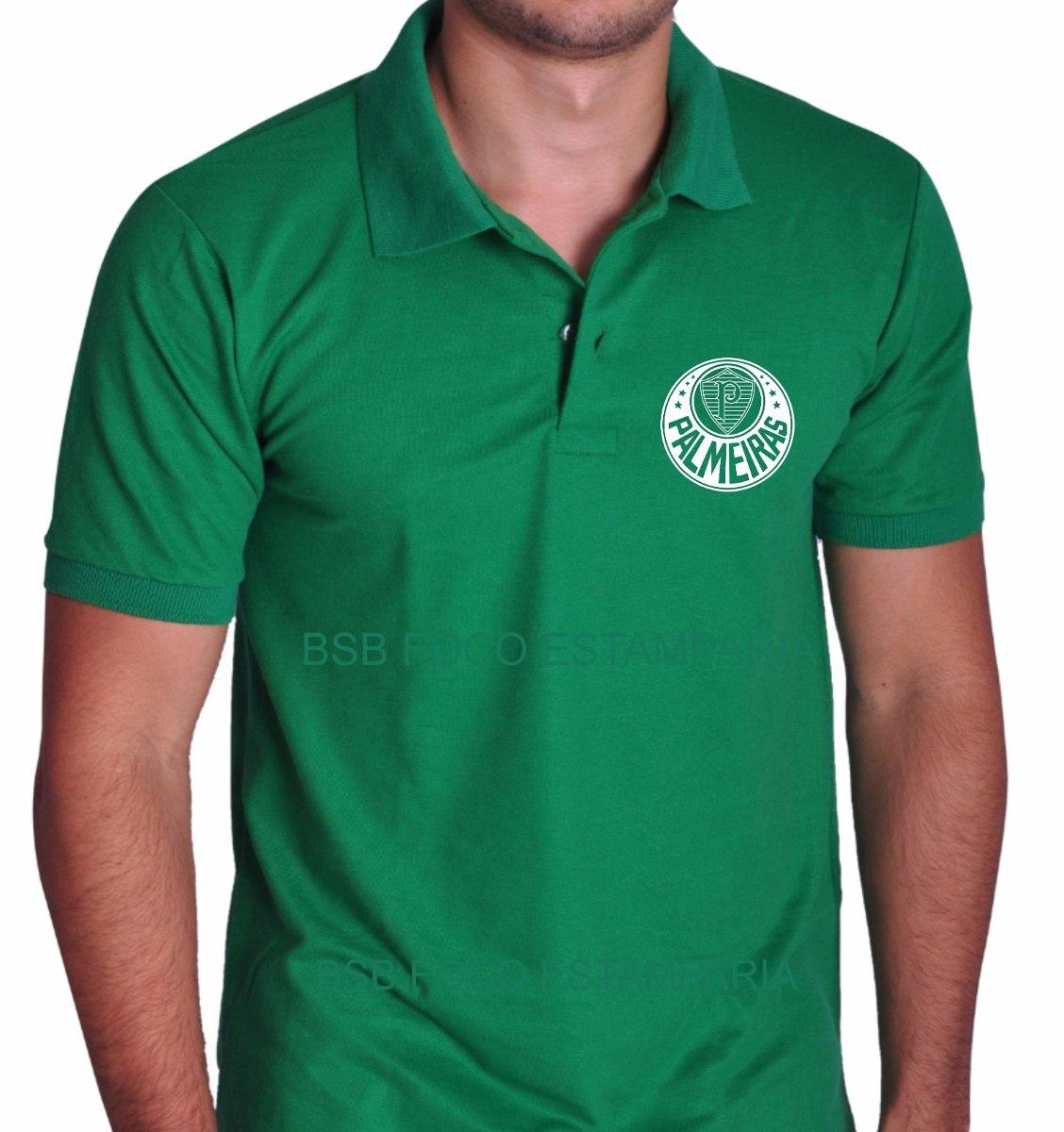 60c4cf783f775 camiseta polo verde com o símbolo do palmeiras. Carregando zoom.