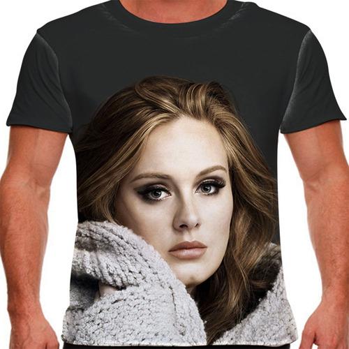 camiseta pop adele face masculina