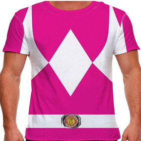 Camiseta Power Rangers Traje Ranger Rosa Masculina