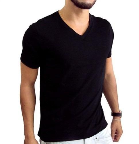 a5b6d6c64a Camiseta Preta Gola V -100% Algodão Uniforme Atacado 12 Pçs - R  178 ...