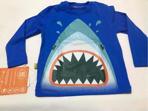 camiseta proteção solar 50 uva uvb infantil tubarao
