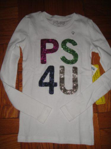 camiseta ps de aeropostale medium 10 con brillos manga larga