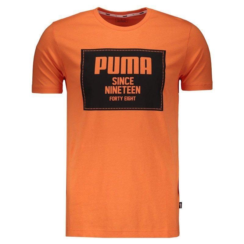 22d81fd8c Camiseta Puma Rebel Block Basic Laranja - R$ 84,90 em Mercado Livre