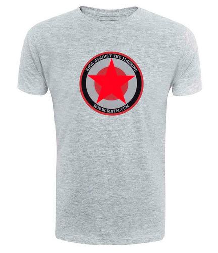 camiseta rage against the machine - cinza rock hardcore ref5