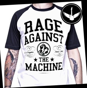 camiseta rage against the machine ou baby look raglan camisa
