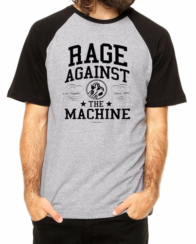 camiseta rage against the machine raglan cinza rock hardcore