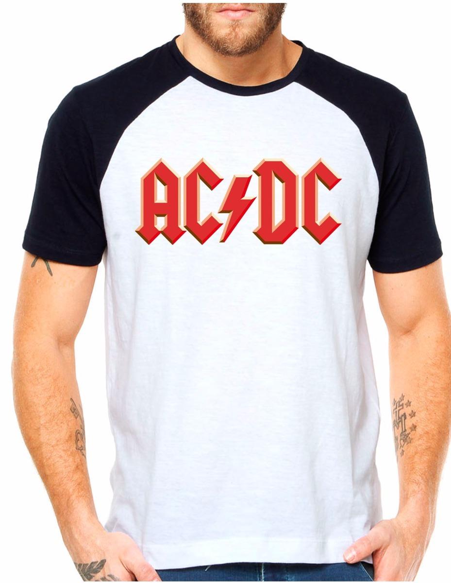 camiseta raglan acdc hard rock heavy metal rock n roll angus. Carregando  zoom. d1f827dcff567