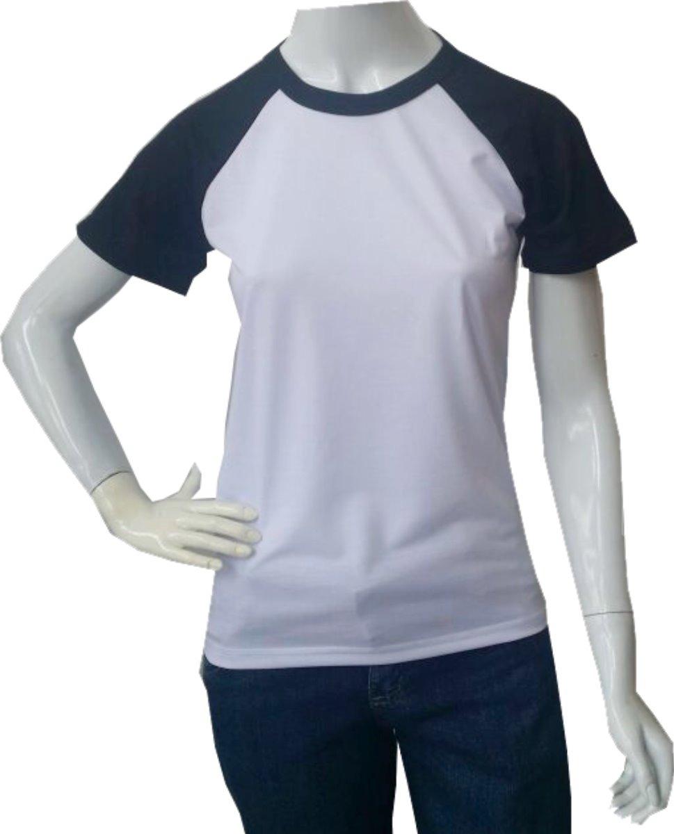 a480b14ea camiseta raglan baby look branca e manga preta (kit 16 un). Carregando zoom.