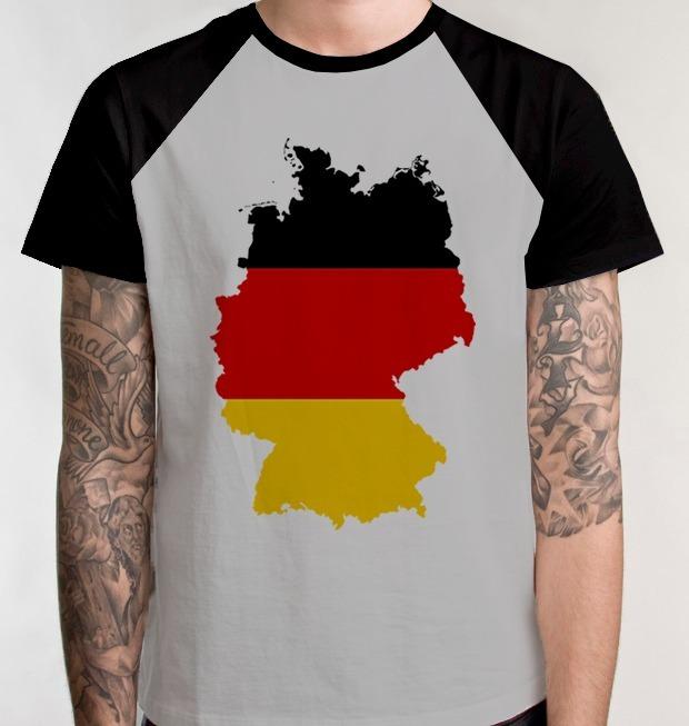 a45592dc64 Camiseta Raglan Blusa Alemanha Pais Alemão Camisa Unissex - R  39