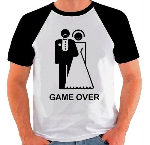 camiseta raglan casamento game over the end engraçada sátira