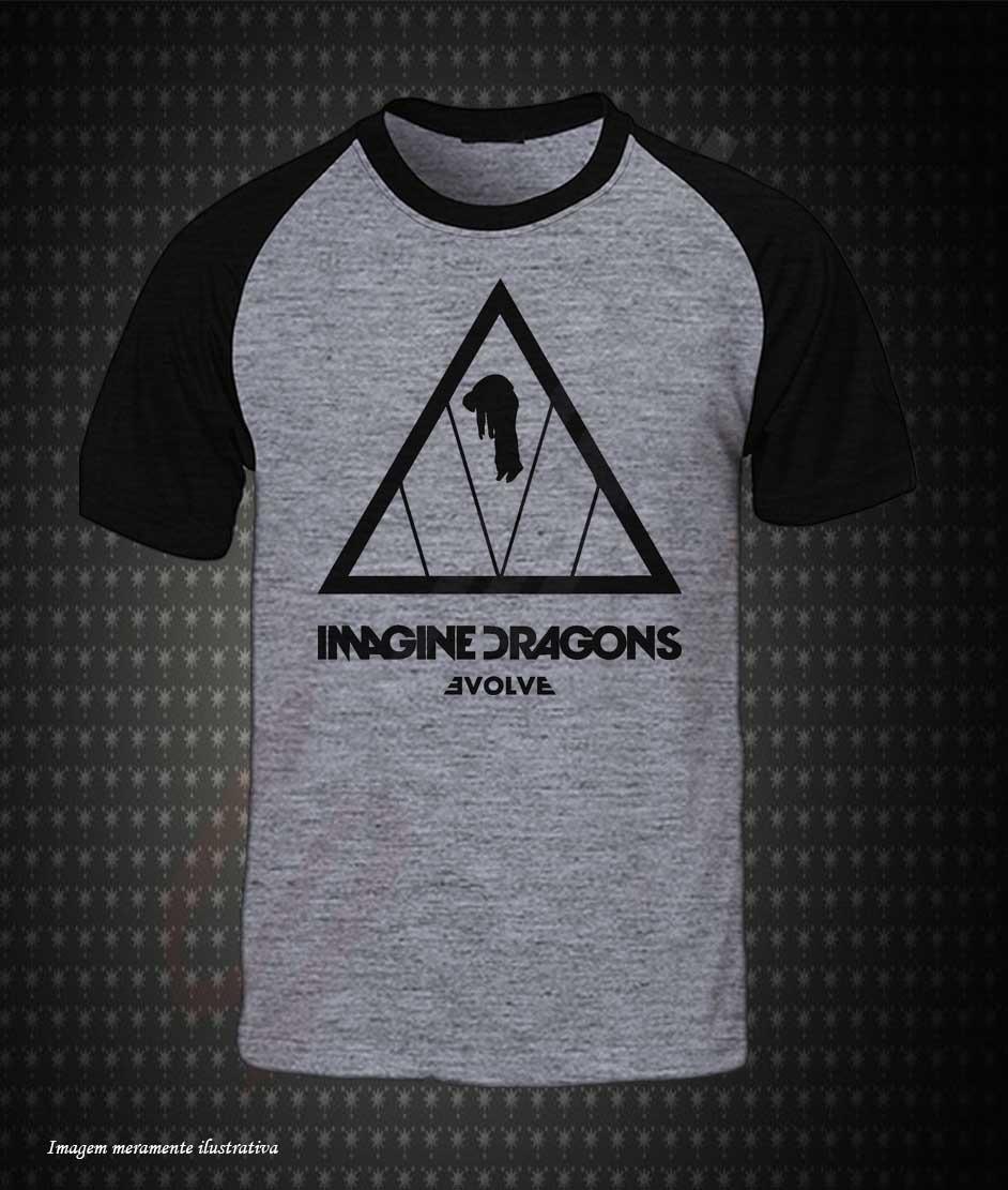 0189c0cbc9 camiseta raglan cinza imagine dragons evolve. Carregando zoom.