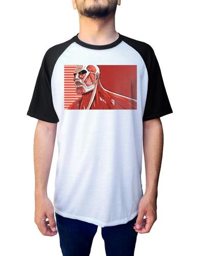 camiseta raglan colossal attack on titan shingeki no kyojin