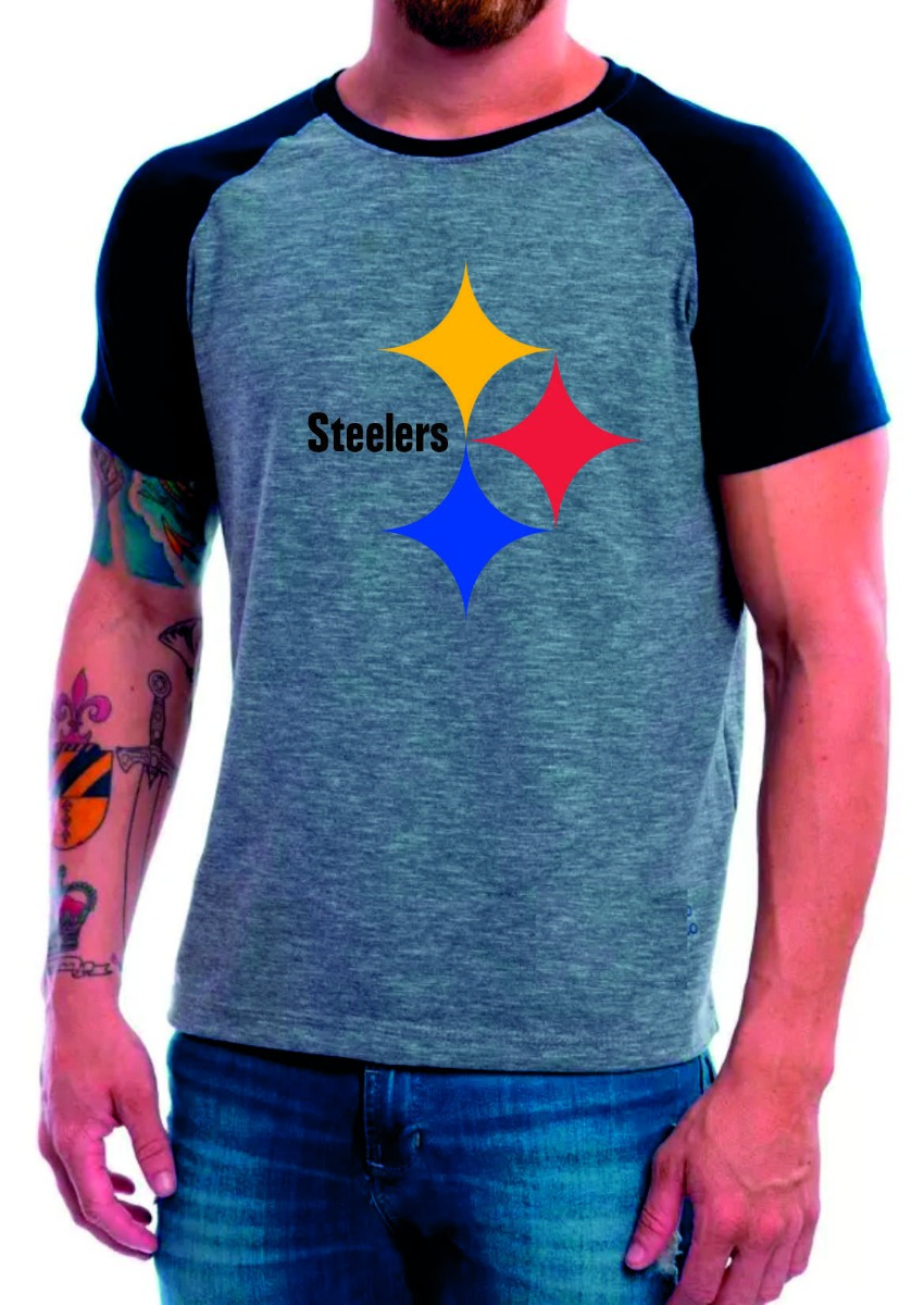 57ee3eaf4e camiseta raglan curta cinza pittsburgh steelers camisa nfl. Carregando zoom.