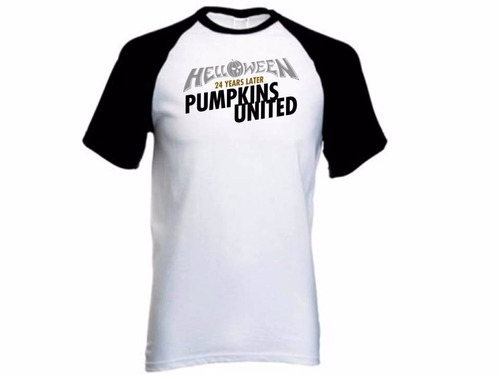 camiseta raglan - helloween  - pumpkins united world tour