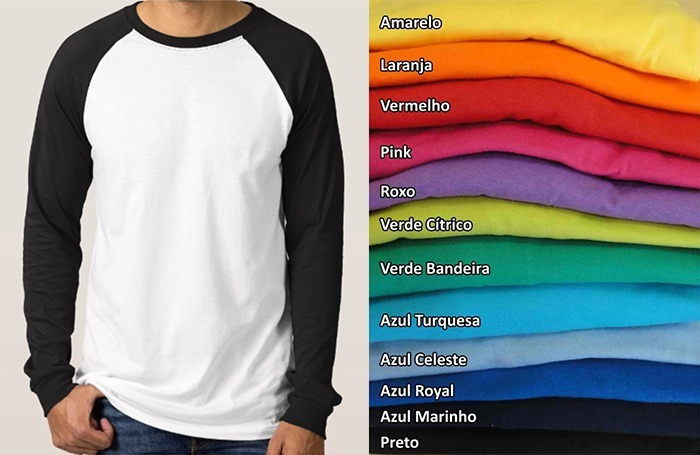 7576768b08 Camiseta Raglan Manga Longa Colorida P  Sublimação Poliéster - R  28 ...