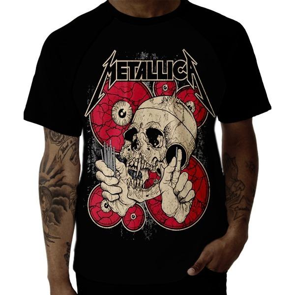 b77234650dd79 Camiseta Raglan Metallica Banda Rock Heavy Metal Kirk Musica - R ...