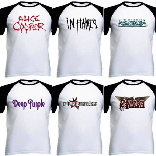1edddf038 Camiseta Raglan Personalizada - Ozzy Osbourne - Logo Preto - R  36 ...