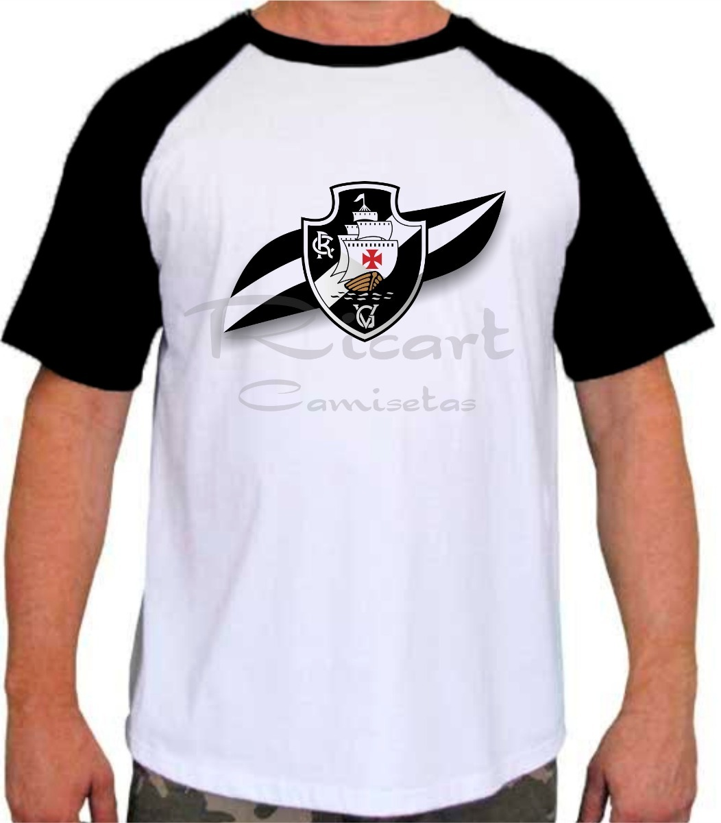 e23979b09b393 Camiseta Raglan Vasco Da Gama Time Futebol Escudo - R  34