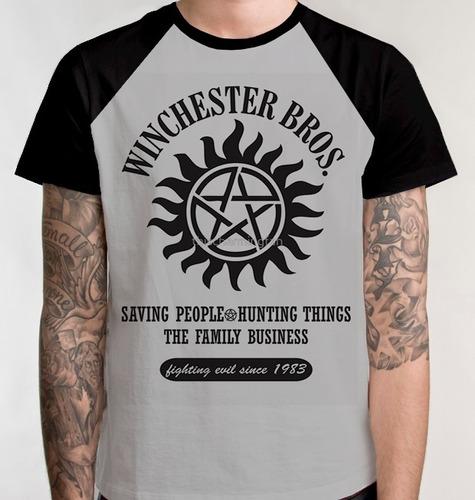 camiseta raglan winchester camisa blusa supernatural série