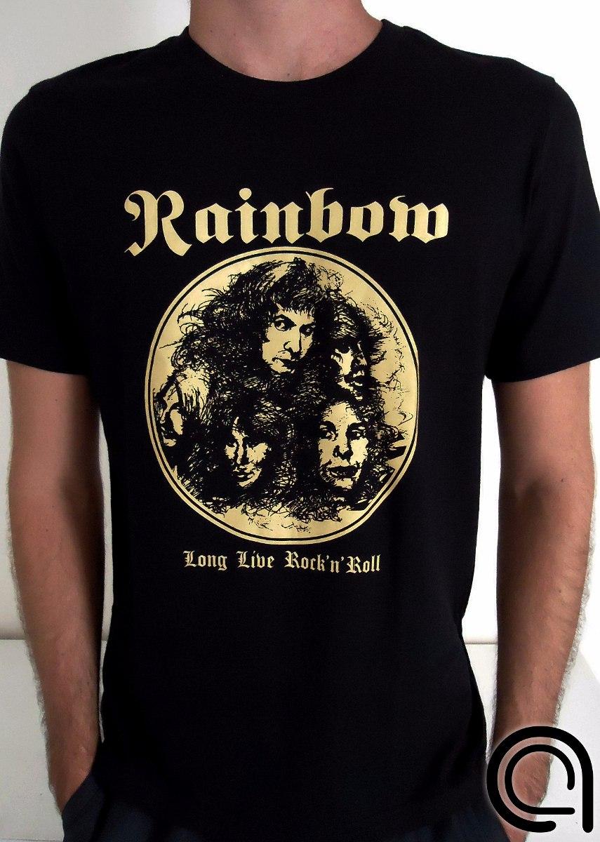 a66baa0ff camiseta rainbow long live rock n roll dio estampa dourada. Carregando zoom.