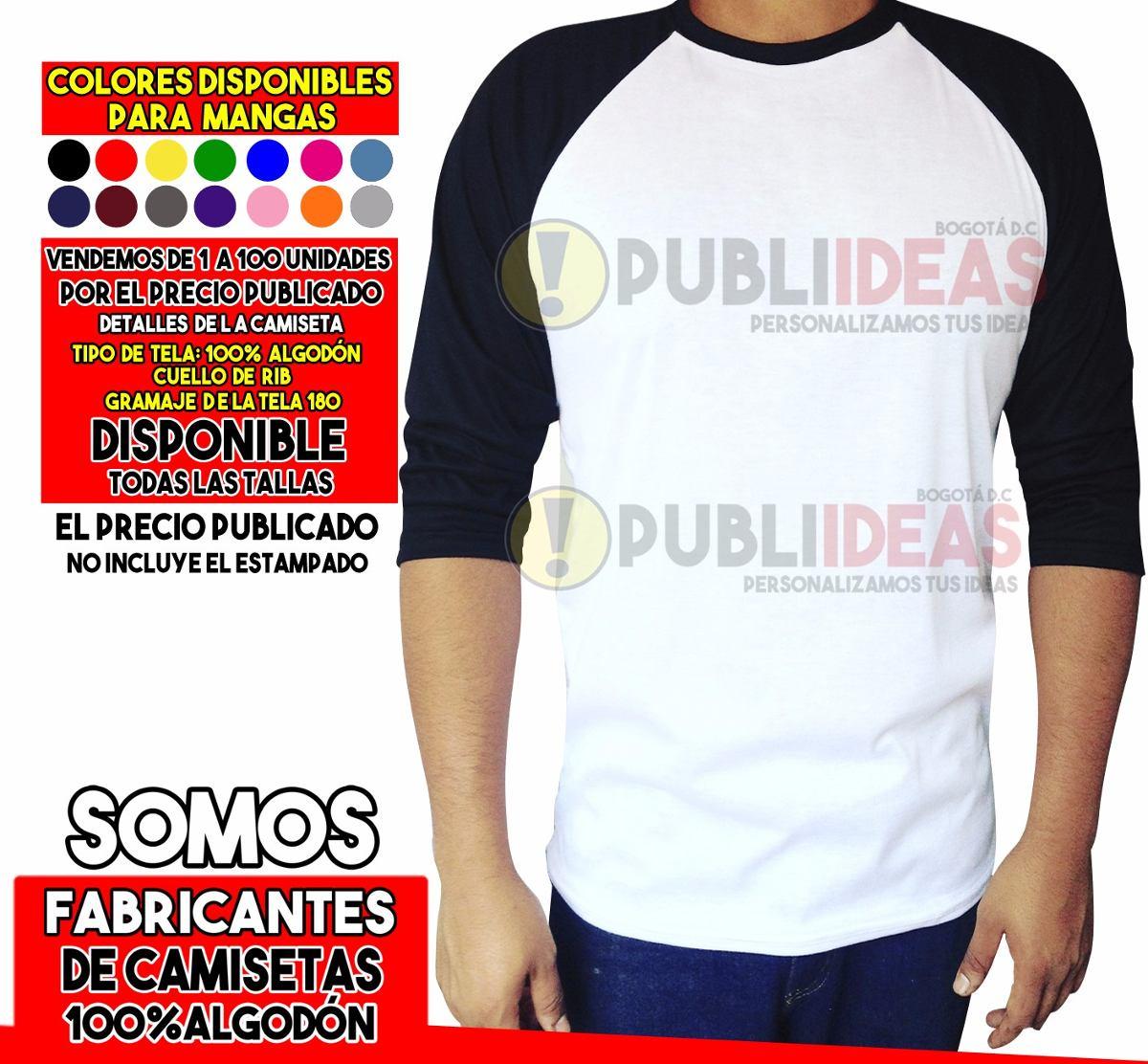 64bc1173be Camiseta Ranglan Manga 3 4 100%algodon -   17.500 en Mercado Libre