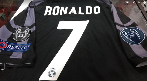 camiseta real madrid negra champions ronaldo 2017 adizero