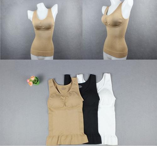 camiseta reductora con brasier cami shaper para dama