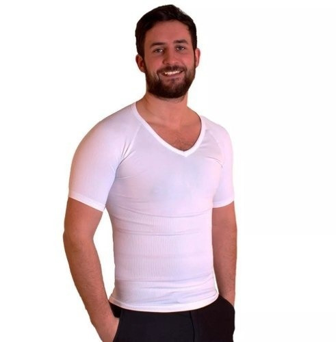camiseta reductora manga corta  blanca/negra l-m-xl