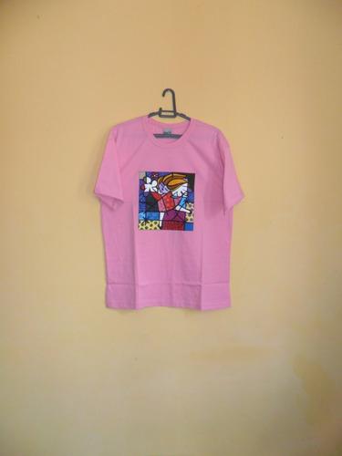 camiseta ref. 344, 100%algodão, feminina, pintada à mão
