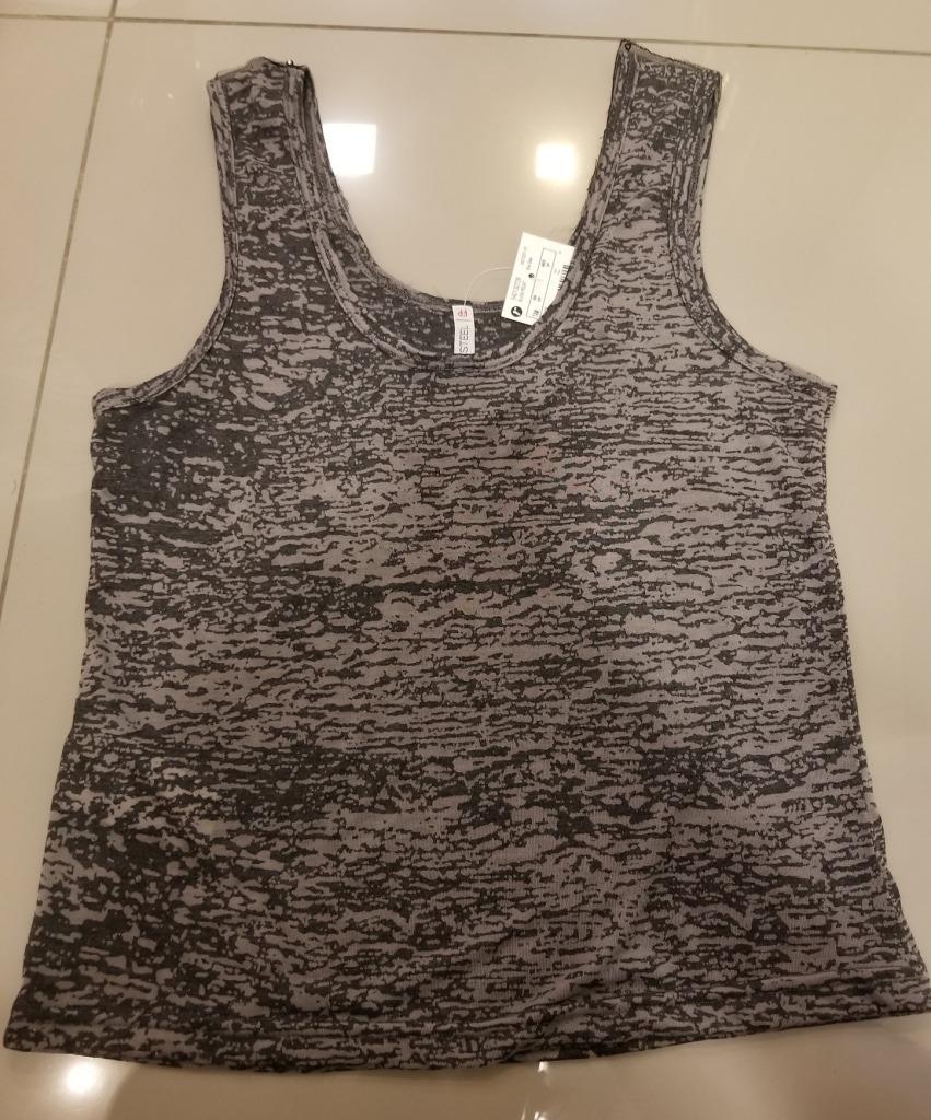 456a130188 Carregando zoom... blusa camiseta regata feminina cinza preta bordada metal  pp