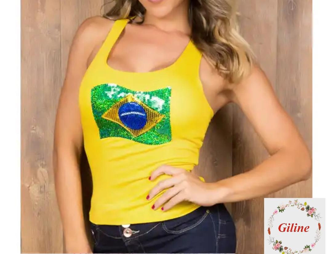 6604f12e46693 Camiseta Regata Brasil Bordada - Copa 2018