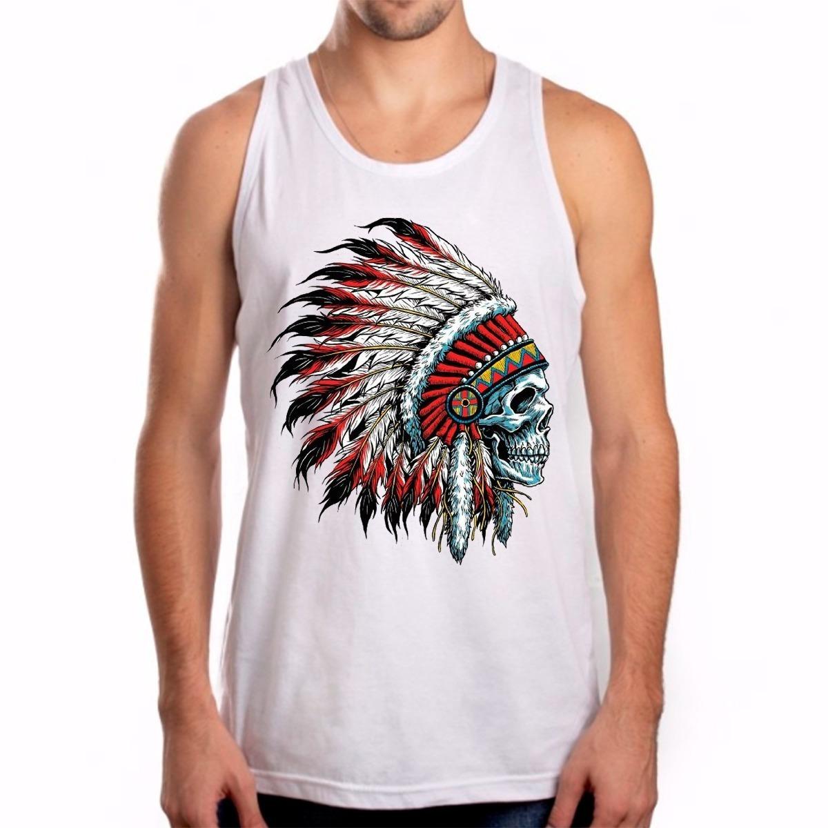 Camiseta Regata Camisa Unissex Cacique Cocar Caveira - R  94 a3b1eed784a