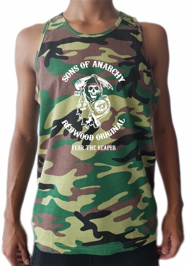 Camiseta Regata Camuflada Sons Of Anarchy Soa Oferta - R  67 a38efad6d21
