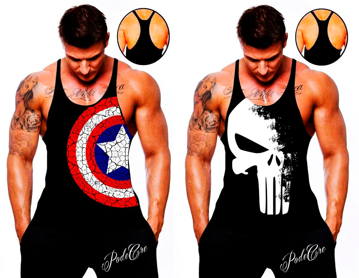 camiseta regata cavada capitão américa justiceiro academia. Carregando zoom. 50152345423