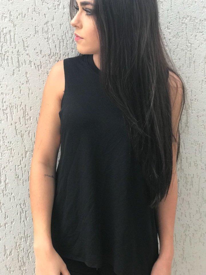 26401ca6bf camiseta regata cavada feminina preta lisa. Carregando zoom.