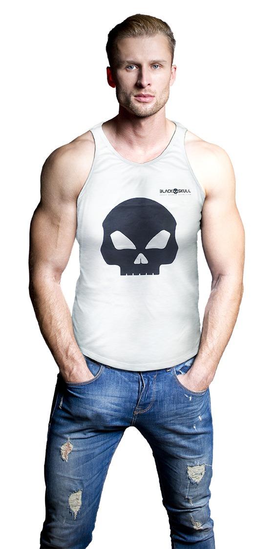 b9fe381dc9798 camiseta regata caveira - black skull - branca. Carregando zoom.
