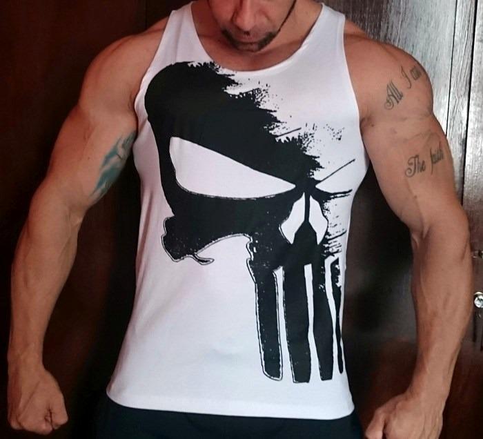 1f62608ba6abe Camiseta Regata Fechada Justiceiro Exclusiva P  Musculação - R  39 ...