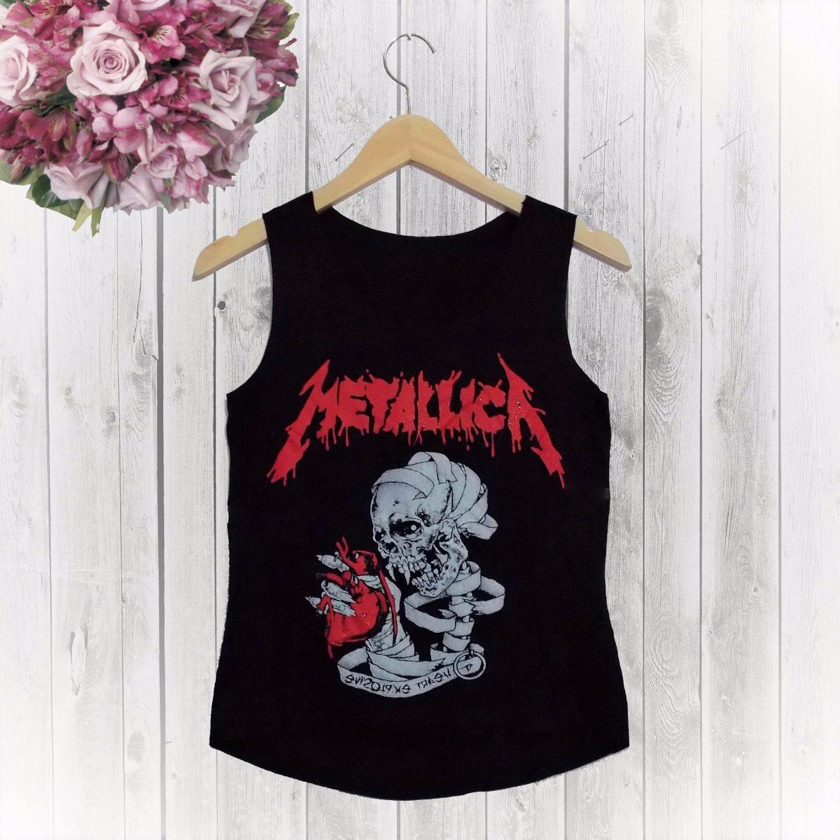 camiseta regata feminina atitude rock metallica. Carregando zoom. c81483cd9ef